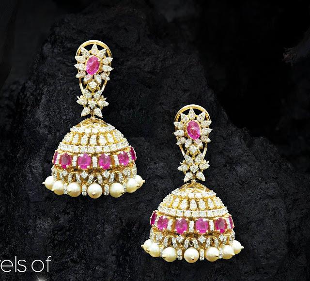 Diamond Jhumkas Pendant by Raj Diamonds