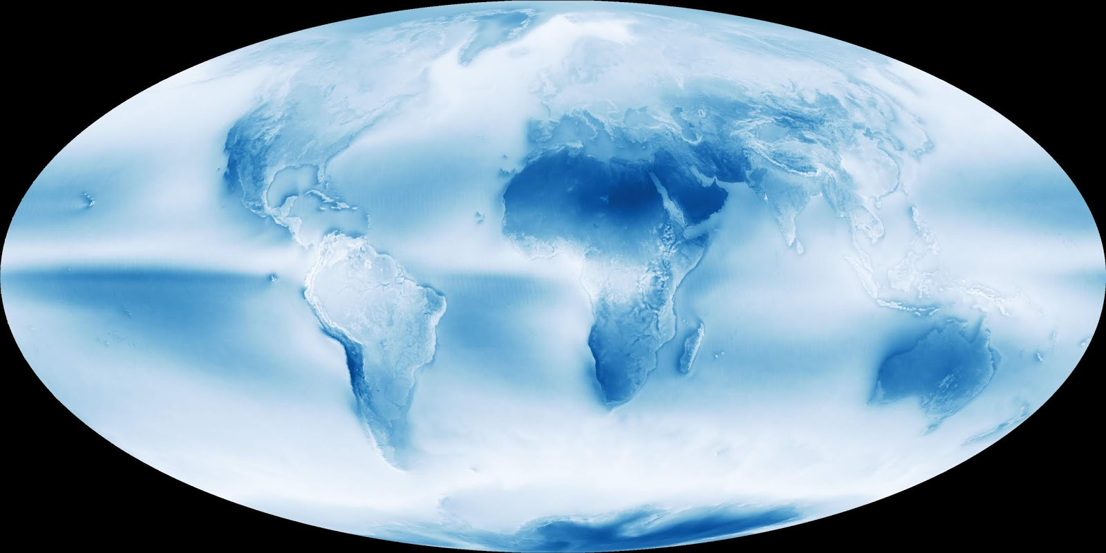 speaking of blue skies here s an interesting map which shows average cloud cover across the world