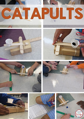 STEM Challenge: It's all about catapults. The frame is super easy to build! Kids experiment and keep data tables of the results! Then those results are used to build the best version of a catapult!