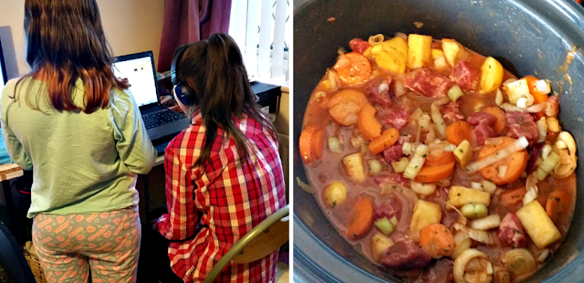 My two girls playing on the laptop and beef stew in the slow cooker