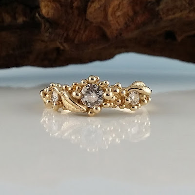 Moissanite Leaf Engagement Ring, Dawn Vertrees, One-of-a-Kind, Three Moissanite Diamonds Engagement, Gold Moissanite Engagement Ring, Three stone engagement Ring, 3 stone wedding band, Leaf Moissanite engagement ring, Twig Moissanite Engagement Ring