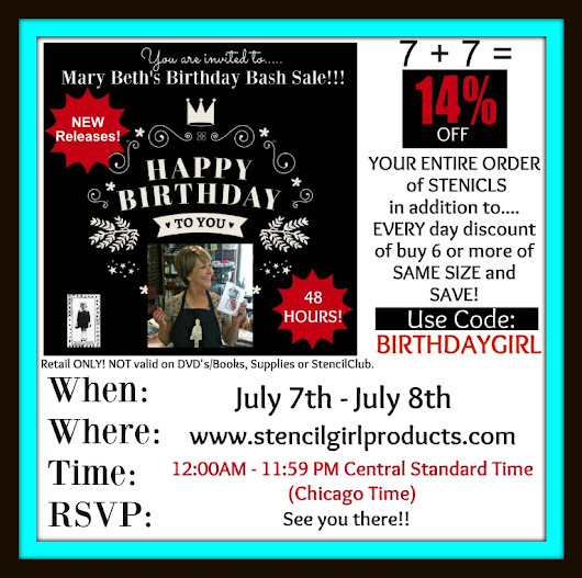 StencilGirl NEW Release and Mary Beth's Birthday Bash Sale!!!