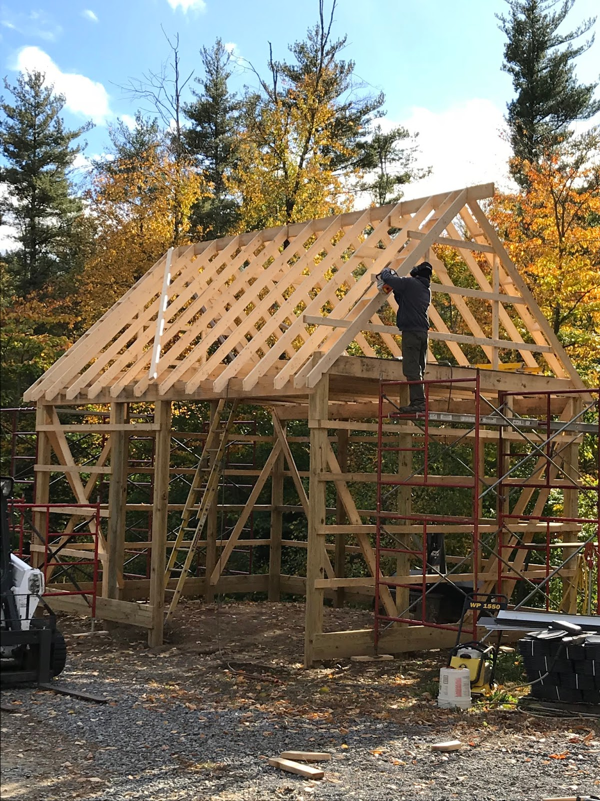 besides the rafter ties which jim doesn t want to put up yet the pole barn framing is all done  [ 1200 x 1600 Pixel ]
