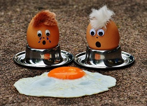 Two Eggs Looking at a Fried Egg