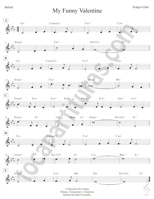 My Funny Valentine Ballad de Rodegerds Hart Partitura Fácil con Acordes My Funny Valentine Easy Sheet Music with Chords