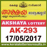 Keralalotteries, kerala lottery, keralalotteryresult, kerala lottery result, kerala lottery result live, kerala lottery results, kerala lottery today, kerala lottery result today, kerala lottery results today, kerala lottery result 17.5.2017 akshaya lottery ak 293