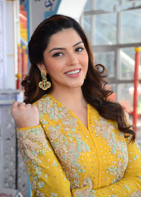 Mehreen Pirzada in Yellow Embroidery Work Full Sleeved Long Dress