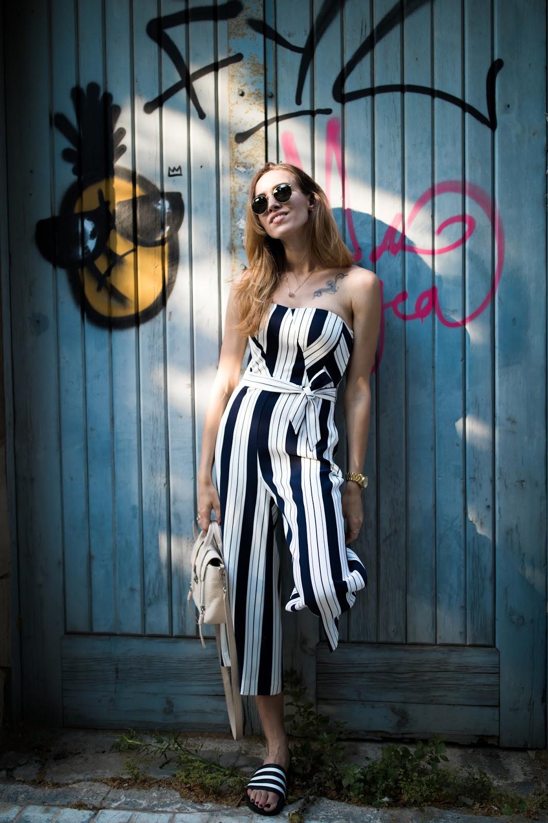 stripe jumpsuit street style