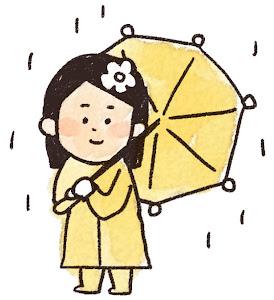 傘を持った女の子のイラスト(梅雨)