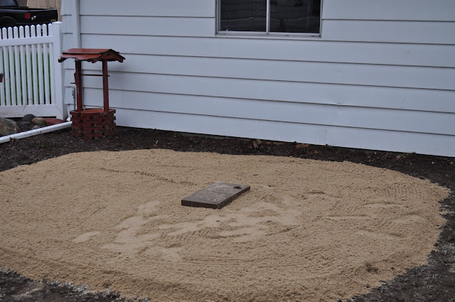 mulch, sod cutter, patio, pavers, DIY, landscaping, reno, compactor, pea gravel, dark brown shredded mulch, sand