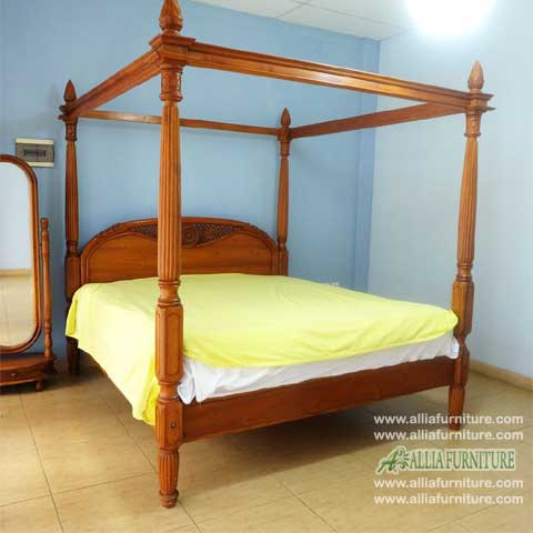 tempat tidur kanopi jati ukiran matahari