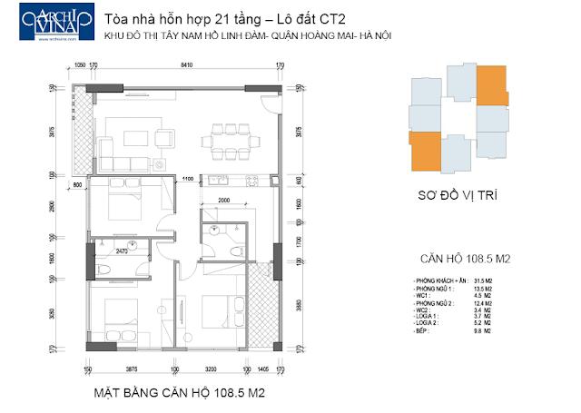 Mặt bằng căn hộ 108.5 m2 chung cư b1ct2 tây nam linh đàm và Chung cư b2ct2 tây nam linh đàm
