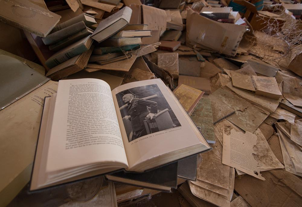 warehouse of old books textbooks magazines in Poston Interment Camp Arizona deserted