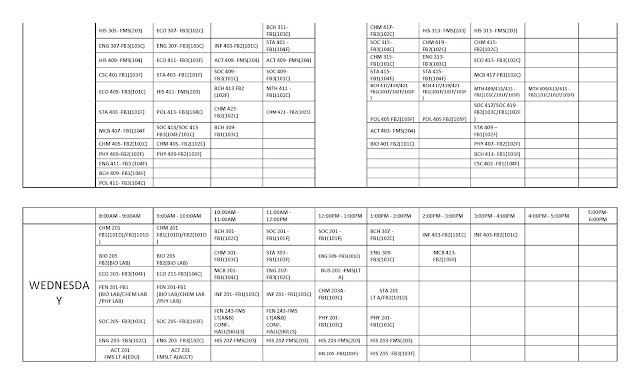 FUOTUOKE 1st Semester Lecture Timetable
