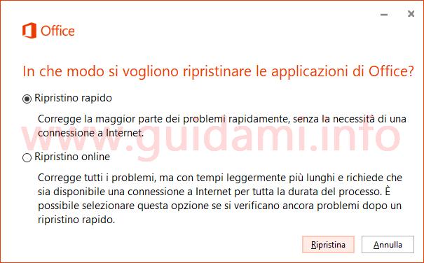 Finestra opzioni di ripristino Microsoft Office
