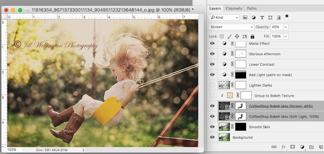 CoffeeShop Golden Bokeh Fine Art Photoshop FPSE Action Texture Kit