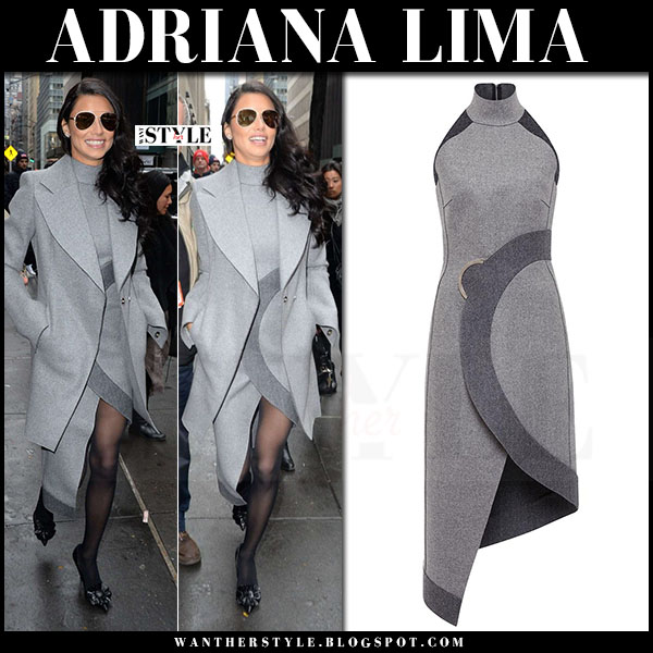 Adriana Lima in grey coat and grey high neck circle dress david koma what she wore