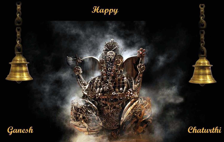 Happy Ganesh Chaturthi Image in black background!