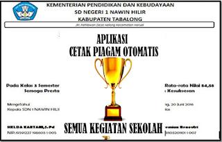 Aplikasi Pembuatan Piagam Penghargaan Sekolah 2017