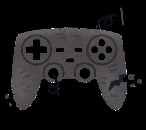 壊れたゲームのコントローラーのイラスト