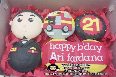 Cupcake Fondant 2D Pemadam Kebakaran