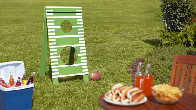 backyard with summer food and games