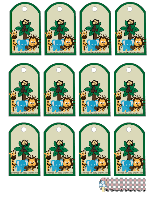 The Jungle for Baby Shower Free Printable Toppers, labels or stickers.