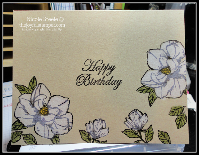 Easy, one layer card using Stampin Up!'s Magnolia Blooms and watercolor pencils