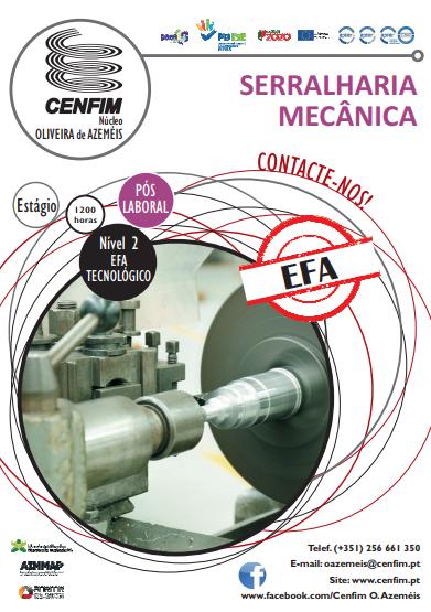 Curso efa de serralharia mecânica Nível 2 em Oliveira de Azeméis (pós-laboral)