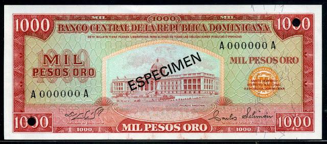 currency money Dominicana 1000 Pesos Oro banknote