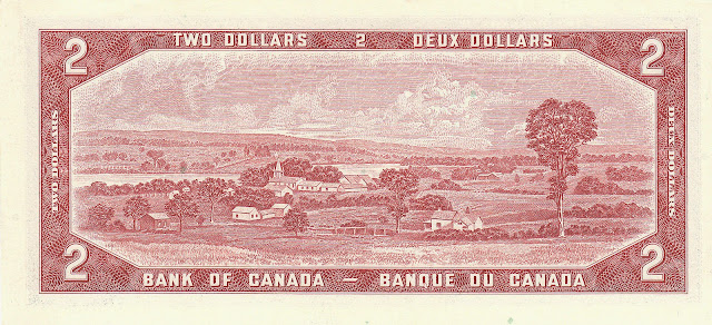 Canada money currency 2 Dollars banknote 1954 Quebec Province