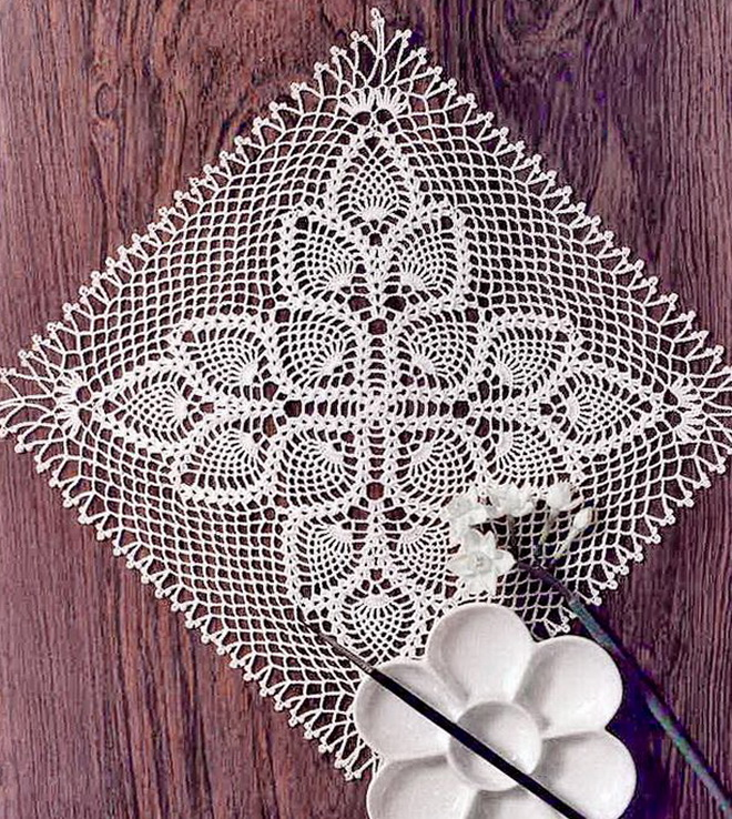 Crochet doily pattern - pineapple square doily lace doily -no:29