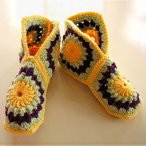 Hexagon Boot Slippers - Free Pattern