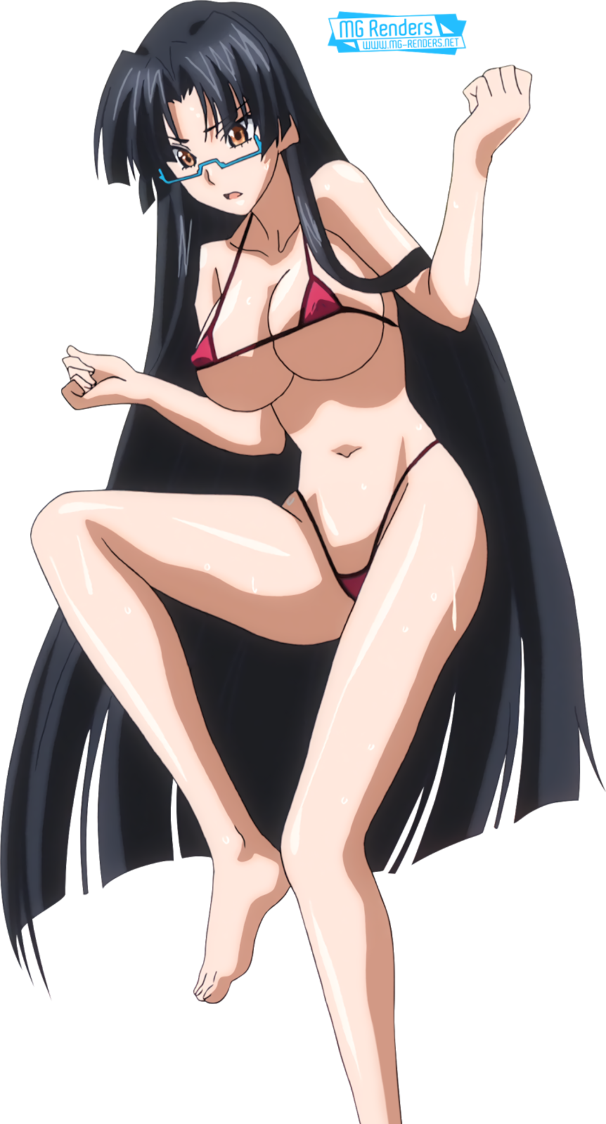 Tags: Anime, Render,  Feet,  High School DxD, ハイスクールD×D, Haisukūru D×D,  Huge Breasts,  Micro Bikini,  Shinra Tsubaki,  Toes,  PNG, Image, Picture