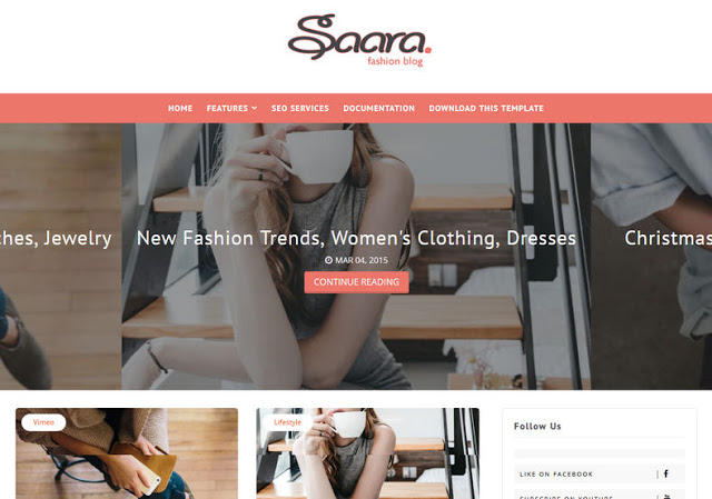 Saara Fashion Blog Blogger Template is a elementary Free Download Saara Blogger Template