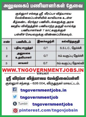 Sri-Veerappa-Vidhyalaya-Higher-Secondary-School-Kullusandhai-Aruppukkottai-Virudhunagar-Tamilnadu-Record-Clerk-Office-Assistant-Watchman-Post-Recruitment-Notification-13th-April-2017-www-tngovernmentjobs-in
