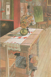 Painting of a small girl playing hide and seek under a table in Carl Larsson's studio.