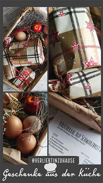 Geschenk Idee aus der Kueche zu Weihnachten: Rezept zu Raeucheraal auf Schwarzbrot mit Ruehrei