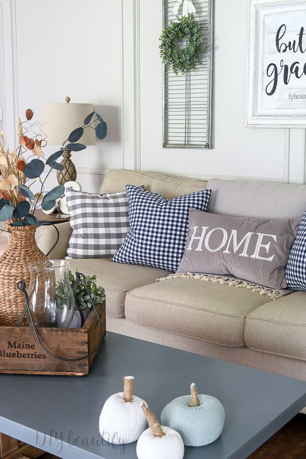 fall decor with gingham pillows