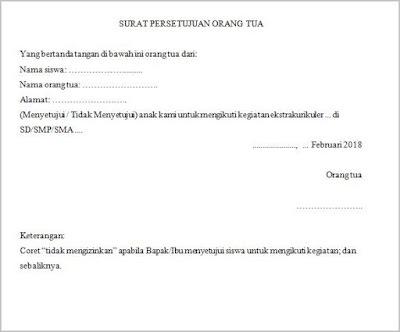 surat persetujuan mengikuti kegiatan ekstrakurikuler dari orang tua