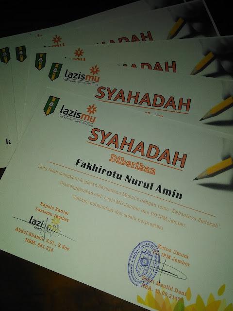 Syahadah Literasi dari PD.IPM dan Lazismu Jember