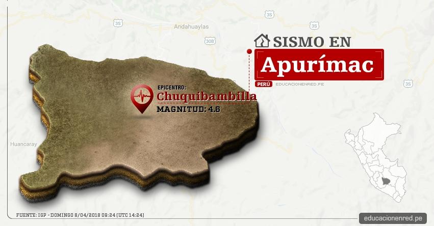 Temblor en Apurímac de magnitud 4.6 (Hoy Domingo 8 Abril 2018) Sismo EPICENTRO Chuquibambilla - Chuqipampilla - Grau - IGP - www.igp.gob.pe