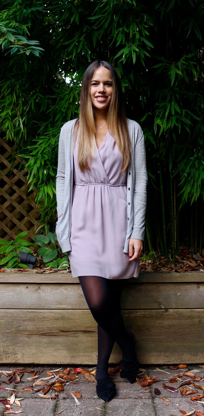 Jules in Flats - Aritzia Sabine Dress with Cardigan (Business Casual Fall Workwear on a Budget)