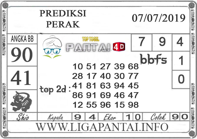 """PREDIKSI TOGEL """"PERAK"""" PANTAI4D 7 JULI 2019"""
