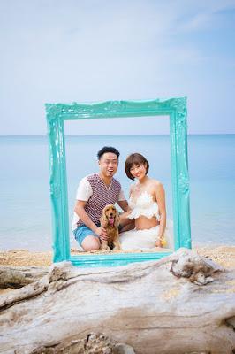 マタニティフォト沖縄 ビーチ 犬