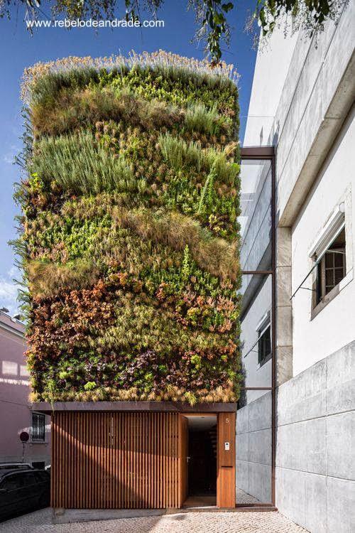 Fachada con plantas vivas en casa contemporánea de Lisboa 2012