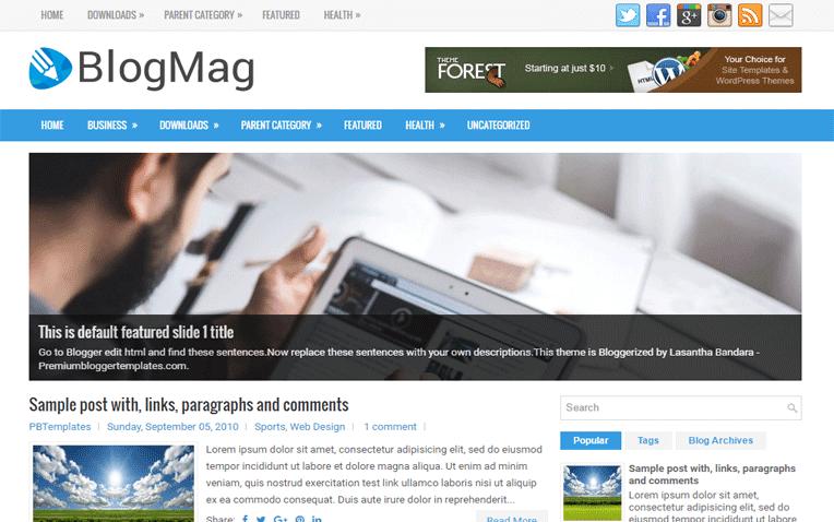 BlogMag Free Blogger Template