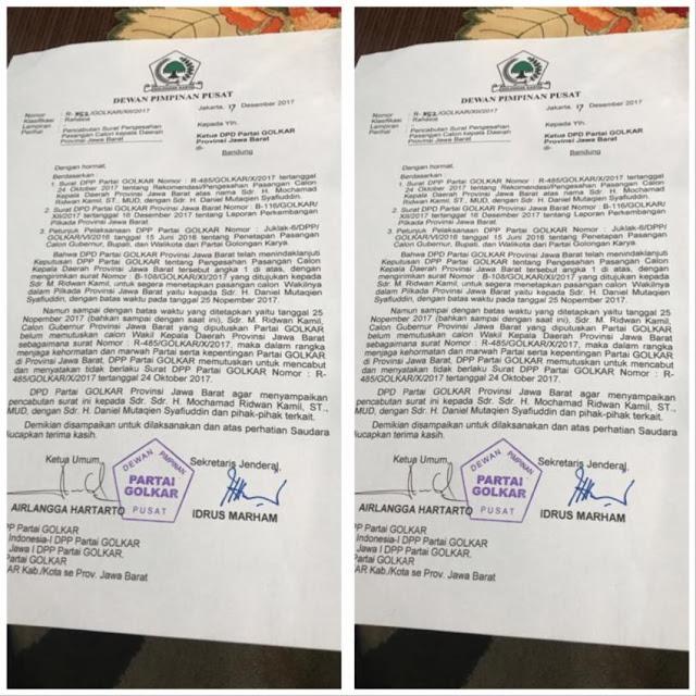 Golkar Resmi Cabut Dukungan untuk Ridwan Kamil, Ini Alasannya