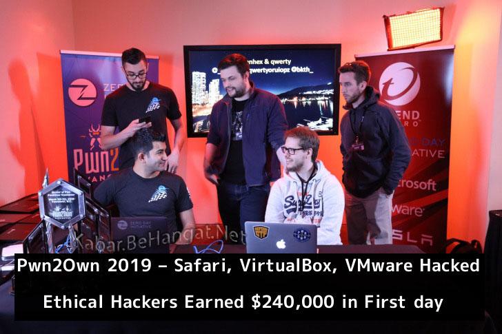 Kontes Lomba Pwn2Own 2019 – Apple Safari, VirtualBox, VMware Hacked – Ethical Hackers Earned $240,000 by Submitting Zero-day's - Kabar.BeHangat.Net
