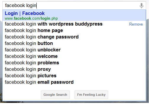 facebook com login search